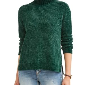 Time and Tru | Green Chenille Mock Neck Sweater